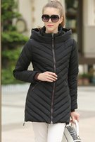 Wholesale Europe winter warm women loose thicken jacket down parkas outwear double zipper hooded long sleeve down parkas jacket