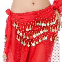 Wholesale 3 Rows Coins Belly Egypt Dance Hip Skirt Scarf Wrap Belt Costume High quality colors for choose