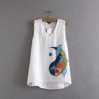 Wholesale 366631 EURO STYLE HOT NEW ARRIVAL FASHION WOMEN S v neck gold fish print sleeveless t shirt sexy lady short front long rear t shirt
