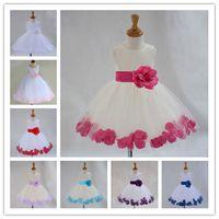 Wholesale New Fashion Girls Wedding Dress Sleeveless Big Floral Sashes Ball Dress White Petal Lace Knee Length Flower Girls Dress