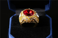 artificial rubies - Top Quality Luxury Crown Sapphire Ruby Emerald Jewelry Ring Crystal Artificial Stones Charms Jewelry Rings For men