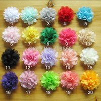 Wholesale Hot Sale colors cm satin chiffon flowers for baby girls headbands hairband hair ornaments children hair accessories