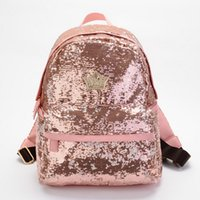 bling backpack - Korea super star Bling Bling shiny Metal crown embroidered sequins backpack fashion student bag lady bags computer bag gift