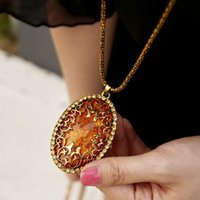 big fake gold chain - new accessories punk fake amber big gem pendant cutout necklace chain vintage long design sweater line women