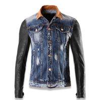 Wholesale 2016 Sales Motorcycle Biker Jackets Cool streetwear men Demin Jacket coat Vintage Patchwork Men s Outerwear Jackets