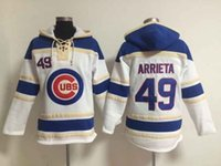 Wholesale Chicago Cubs Jake Arrieta Hoodie Discount Cheap Champion Sweater Lace Up Pullover Hooded Sweatshirt Stitched Baseball Hoodies for Men