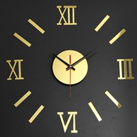 Wholesale Modern Design D Acrylic Wall Clock With Roman Number Mirror Decal Sticker Art DIY Home Decor Colors