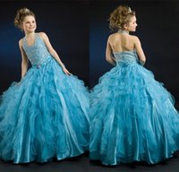 Wholesale Sparkling halter little girls pageant dress with beaded sequins ball gowns floor length flowers girls special occasion