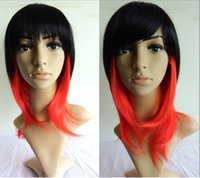 Cheap Fashion Sexy Straight Wig Heat Resistant Long Full Lolita Cosplay Party Hair Wigs Red+Black Wholesales