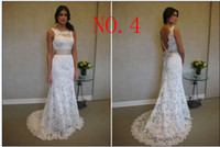 Wholesale 2015 FREE SHING Bateau White Lace Wedding Dress With Belt Sheath Column Sweep Brush Open back bowknot New Elegant Cheap Beach Wedding Gown