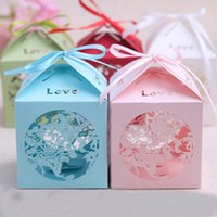 Wholesale Laser Cut Love Wedding Candy Box Elegant Gift Favor Boxes with Satin Ribbon