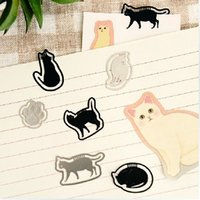 Wholesale 16 Cute Metal Black and Silver Cat Bookmark Planted Petit Clip Korean Stationery Gift