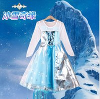 Wholesale New Frozen Baby Girl Princess Dress long sleeve Cartoon Dresses Age Kids Dresses Frozen Children Clothing