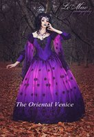 Wholesale Ombre Gothic Fairy Fantasy Wedding Gowns Purple and Black Lace Ball Gown Wedding Dresses with Long Sleeves Vestdios de Novia