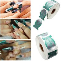 Wholesale New Roll Pro Form Nail Art Tip Rolls Acrylic Curve Gel Guide Sticker Green Horseshoe Shape Extension Nails