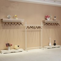 Wholesale Wrought iron clothing display rack store shelves Console hangers island frame wall frame