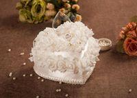 best wedding cakes - Double white cake ring pillow Heart shaped european style Korean wedding wedding wedding white ring pillow best selling