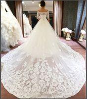 bridal dress china - Vintage Off The Shoulder Wedding Dress With Half Sleeves Appliques Lace Bridal Gowns Vestido De Novia Chapel Train Bride Dresses China