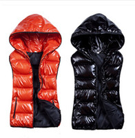 Wholesale Hot sales fall fashion female Hooded Vests down cotton vest female casual bright all match Kanjian