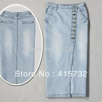 blue jean skirts - 2015 Plus Size XXL Washed Denim Long Skirt Women Stretch Pencil Skirt With Slit And Button Blue Jean Vintage Skirt