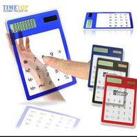 Wholesale Free DHL Fedex Transparent Digit LCD Solar Calculator Multi color Touch Screen Counter Calculating Tool