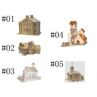 Wholesale colorful cottage farm house D Puzzle dimensional wooden model games cube jigsaw DIY wooden Intelligent Construction kit Educational toy