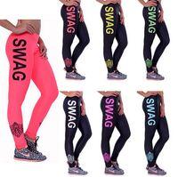 american street wear - 2016 New Fashion Womens sports Pants Fitness Legging Girls SWAG printed Yoga Running leggings street wear