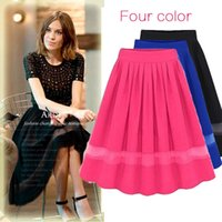 pleated skirt - Skirts for Pregnant Rushed Acrylic free European And American Women New Summer Chiffon Organza Pleated Skirts Fairy Stitching