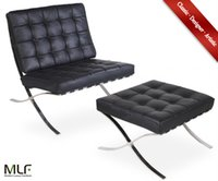 barcelona ottoman - MLF Barcelona Chair Ottoman Superior Craftsmanship Italian Leather High Density Foam Cushions Polished Stainless Steel Durable