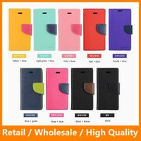 Wholesale iPhone Plus s Leather Cover Case with Card Slot Holder Stand Case MERCURY Leather Case for Samsung Note5 Note7
