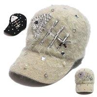Wholesale 2014 new Rhinestone Rabbit Fur hat cap diamond Decorated Young Lady Hat Winter Outdoor Head Accessory Women Baseball Caps