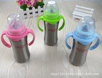 baby juice cup - 180ml Baby bottle Infant Newborn Cup Children Learn Feeding Drinking Handle Bottle kids Juice water Stainless steel Bottles Baby Bottles