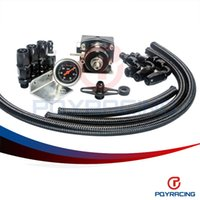 ae store - PQY STORE Full Black AE STYLE MGTE MKIII Fuel Pressure Regulator with hose line kits Fittings Gauge PQY7843BK