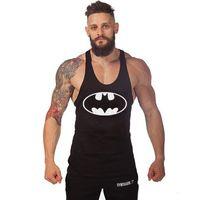 Wholesale Men HQ Batman Printing Raglan tank top Workout Fitness Muscle Bodybuilding stringer vest Cotton vest Fitness vest
