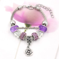 Wholesale Shamballa Bracelets Valentines Day - 3 Colors New Arrival Valentine Jewelry European Charm Love Engraved Heart Beads Shamballa Beads Rose Bracelets for Mother's Day Gift Jewelry