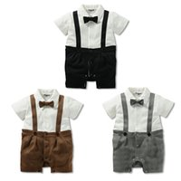 Cheap 2015 baby boy Romper infant One-piece Jumpers gentleman suspender bow babies clothes kid clothing