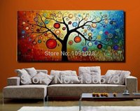 Wholesale Hand painted modern abstract money tree canvas wall art oil painting on canvas huge home decoration unique gift artwork pictures