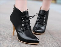 Cheap Hot!2015 Women's pointy toe ankle boots women fashion sexy stiletto boots Martin boots black beige brown straps australia boots