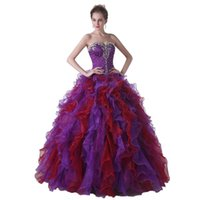 Wholesale 2016 purple quinceanera dresses Sweetheart Beaded Ball Gown Layed Ruffles Sweep Organza with Beads Built in bra Lace up back