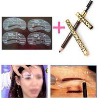 Wholesale 4 Eyebrow Shaping Stencils Grooming Kit Makeup Tools Eye Brow Pencil Brush Wonderful Gift