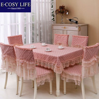 Round dining table and chair - New arrival red Table Cloth and chair cover set Fashion Home Decor restaurant Rectangular Dining Table cloths Chair cushion E003
