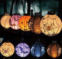 Bon Marché Lantern-Super lumineux Halloween Lampe décorative Lampe de Citrouille Spider Bat Squelettes Lanternes de papier LED Lampe pour la décoration de partie