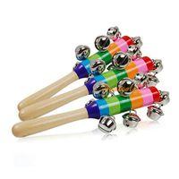 Wholesale 1PC Rainbow Baby Kid Pram Crib Handle Wooden Bell Child Handbell Shake Rattle Toy