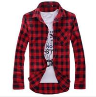 Wholesale Mens Shirts Vintage Plaid Check Long Sleeve Shirt Slim Fit casual Shirts for Men High Quality Shirt