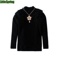 Wholesale 2016 winter fashion children clothing lace high collar tops flower chian embellished thick sweaters