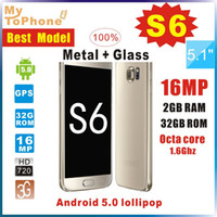 Wholesale Best Version S6 G9200 G920F phone Android lollipop Octa core MTK6592 Fingerprint G RAM G ROM MP Camera Smartphone