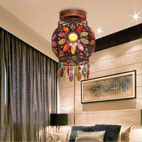 acrylic work surface - Retro Fashion Creative Personality Wrought Iron Acrylic Colorful Ceiling Lamp Cafe Art Decoration Lights YSL0834 order lt no t