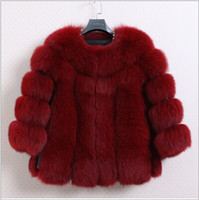 fox fur jacket - Fur faux fur coat mink hair rex rabbit hair cape jacket black and white fur overcoat imitation rabbit fur faux fox collar new arrive