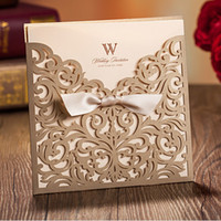 floral supplies - Personalized Wedding Invitation Cards Floral Wedding Supplies Gold Laser Cut Hollow Chic Bow Ribbon Wedding Favors Printable Cards