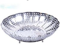 Wholesale Hot selling stainless steel multi function retractable steamer rack fruit plate bowl bread tray draining S M L size wholesaler low price